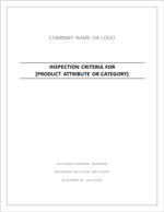Inspection Criteria Specification